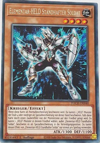 Elementar-HELD Standhafter Soldat TOCH-DE040 ist in Rare Yu-Gi-Oh Karte aus Toon Chaos 1.Auflage