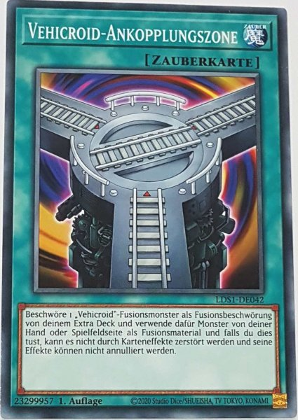 Vehicroid-Ankopplungszone LDS1-DE042 ist in Common Yu-Gi-Oh Karte aus Legendary Duelists: Season 1 1.Auflage