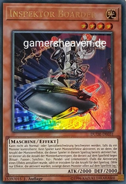 Inspektor Boarder DUDE-DE031 ist in Ultra Rare aus Duel Devastator 1.Auflage