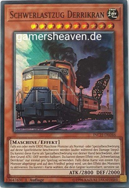 Schwerlastzug Derrikran INCH-DE046 ist in Super Rare Yu-Gi-Oh Karte aus The Infinity Chasers 1.Auflage