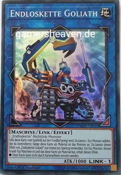 Endloskette Goliath INCH-DE010 ist in Super Rare Yu-Gi-Oh Karte aus The Infinity Chasers 1.Auflage