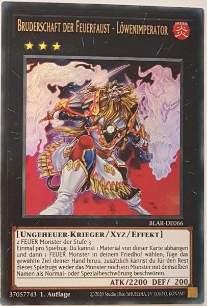 Bruderschaft der Feuerfaust - Löwenimperator BLAR-DE066 ist in Ultra Rare Yu-Gi-Oh Karte aus Battles of Legend: Armageddon 1.Auflage