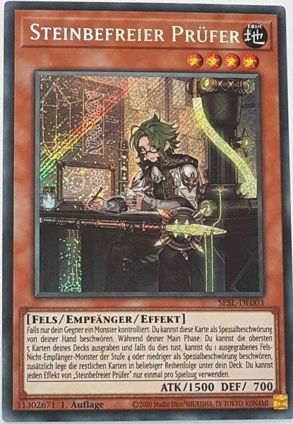 Steinbefreier Prüfer SESL-DE003 ist in Secret Rare Yu-Gi-Oh Karte aus Secret Slayers 1.Auflage