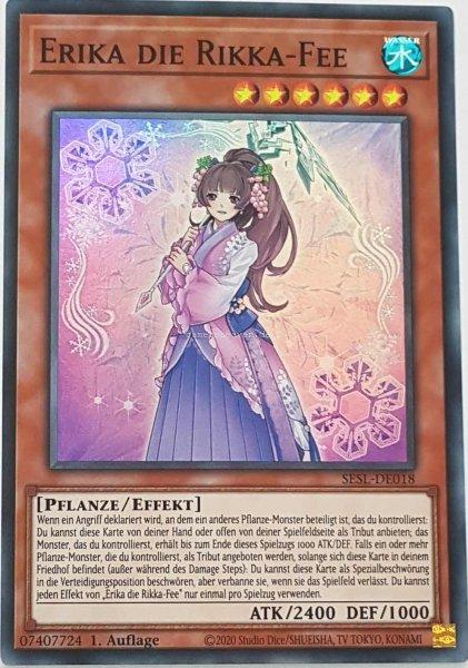 Erika die Rikka-Fee SESL-DE018 ist in Super Rare Yu-Gi-Oh Karte aus Secret Slayers 1.Auflage