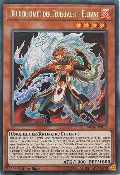 Bruderschaft der Feuerfaust - Elefant FIGA-DE012 ist in Secret Rare Yu-Gi-Oh Karte aus Fists of the Gadgets 1.Auflage