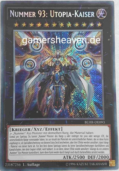 Nummer 93: Utopia-Kaiser BLHR-DE093 ist in Secret Rare aus Battles of Legend: Hero's Revenge 1.Auflage