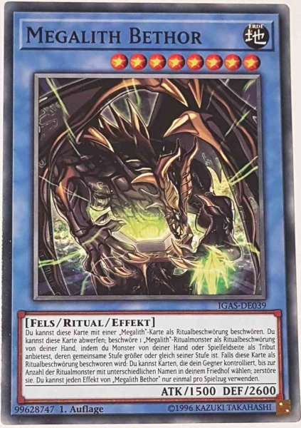 Megalith Bethor IGAS-DE039 ist in Common Yu-Gi-Oh Karte aus Ignition Assault 1.Auflage