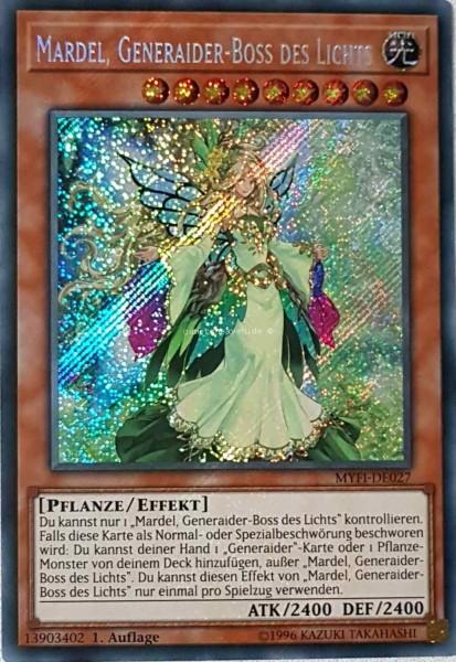 Mardel, Generaider-Boss des Lichts MYFI-DE027 ist in Secret Rare aus Mystic Fighters 1.Auflage