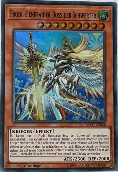 Frodi, Generaider-Boss der Schwerter MYFI-DE028 ist in Super Rare aus Mystic Fighters 1.Auflage