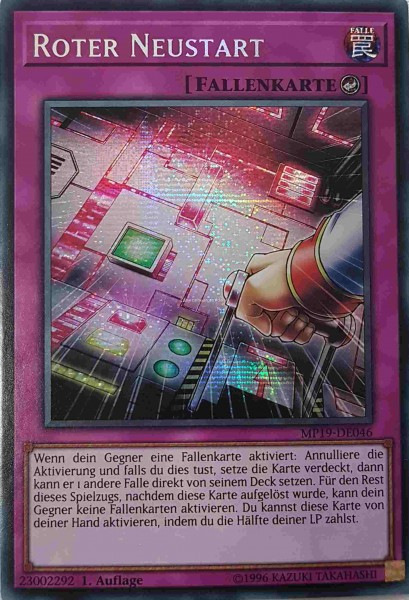 Roter Neustart MP19-DE046 ist in Prismatic Secret Rare aus Gold Sarcophagus Tin 2019 1.Auflage