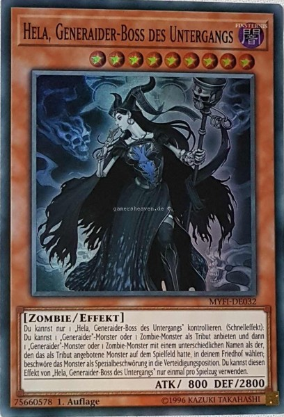 Hela, Generaider-Boss des Untergangs MYFI-DE032 ist in Super Rare aus Mystic Fighters 1.Auflage