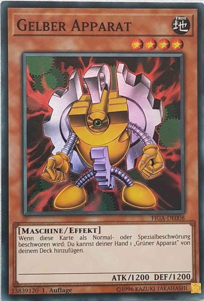 Gelber Apparat FIGA-DE008 ist in Super Rare Yu-Gi-Oh Karte aus Fists of the Gadgets 1.Auflage