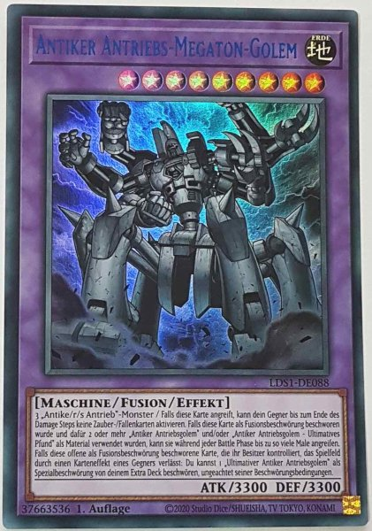 Antiker Antriebs-Megaton-Golem (blau) LDS1-DE088 ist in Colorful Ultra Rare Yu-Gi-Oh Karte aus Legendary Duelists: Season 1 1.Auflage