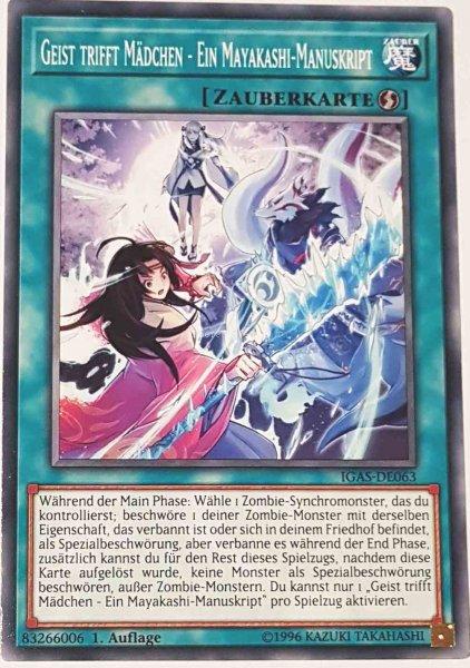 Geist trifft Mädchen - Ein Mayakashi-Manuskript IGAS-DE063 ist in Common Yu-Gi-Oh Karte aus Ignition Assault 1.Auflage