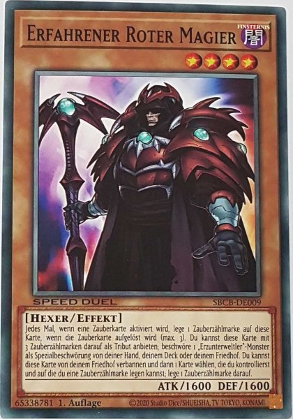 Erfahrener Roter Magier SBCB-DE009 ist in Common Yu-Gi-Oh Karte aus Speed Duel Battle City Box 1. Auflage