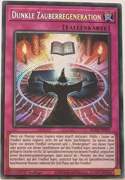 Dunkle Zauberregeneration BLAR-DE001 ist in Secret Rare Yu-Gi-Oh Karte aus Battles of Legend: Armageddon 1.Auflage