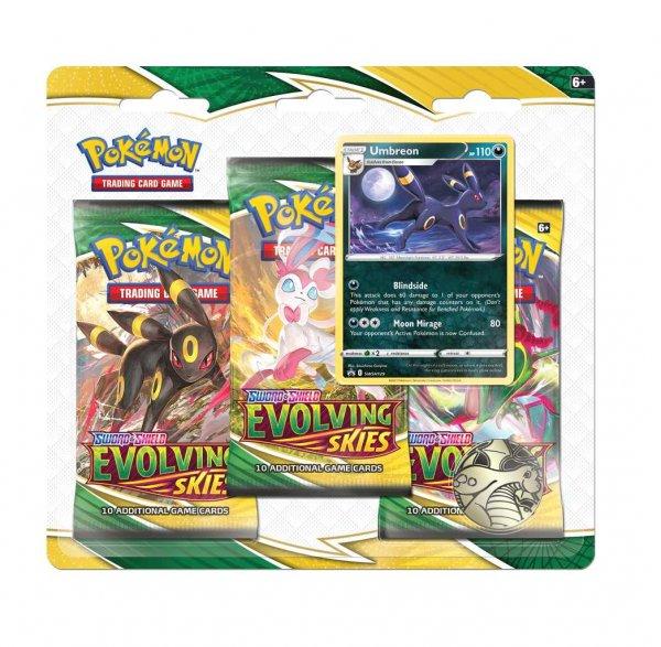 Pokemon Evolving Skies 3-Pack Blister Umbreon - Englisch