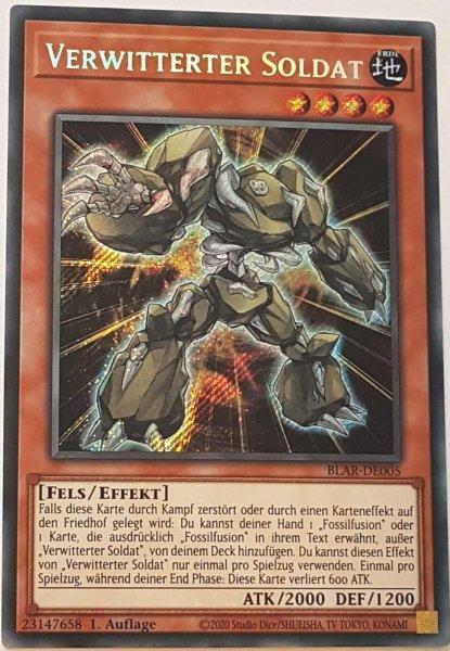Verwitterter Soldat BLAR-DE005 ist in Secret Rare Yu-Gi-Oh Karte aus Battles of Legend: Armageddon 1.Auflage
