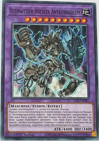 Ultimativer Antiker Antriebsgolem LDS1-DE087 ist in Common Yu-Gi-Oh Karte aus Legendary Duelists: Season 1 1.Auflage