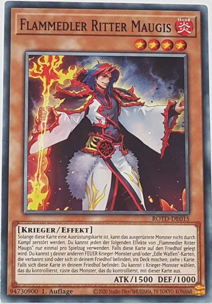 Flammedler Ritter Maugis ROTD-DE015 ist in Common Yu-Gi-Oh Karte aus Rise of the Duelist 1.Auflage