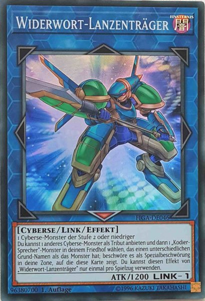 Widerwort-Lanzenträger FIGA-DE046 ist in Super Rare Yu-Gi-Oh Karte aus Fists of the Gadgets 1.Auflage