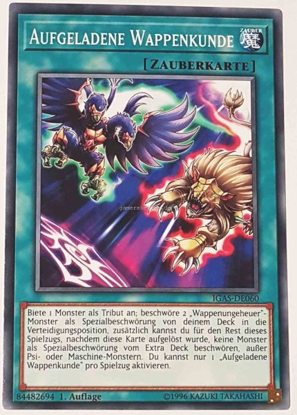 Aufgeladene Wappenkunde IGAS-DE060 ist in Common Yu-Gi-Oh Karte aus Ignition Assault 1.Auflage