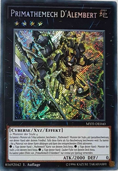 Primathemech D'Alembert MYFI-DE040 ist in Secret Rare aus Mystic Fighters 1.Auflage