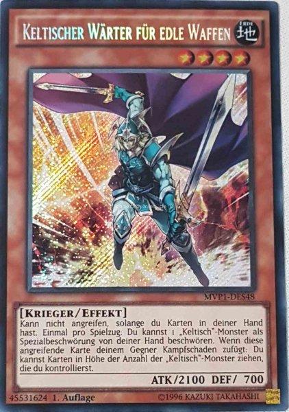 Keltischer Wärter für edle Waffen MVP1-DES48 ist in Secret Rare aus The Dark Side of Dimensions Movie Pack Secret Edition 1.Auflage