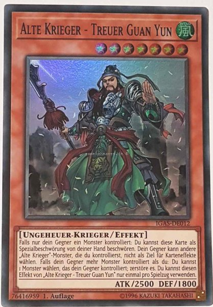 Alte Krieger - Treuer Guan Yun IGAS-DE012 ist in Super Rare Yu-Gi-Oh Karte aus Ignition Assault 1.Auflage