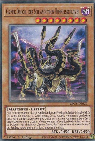 Gizmek Orochi, der Schlangotron-Himmelsschlitzer SDCS-DE020 ist in Common Yu-Gi-Oh Karte aus Cyber Strike 1.Auflage