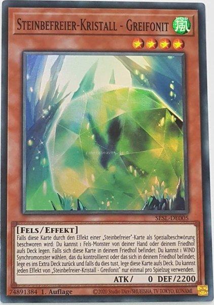 Steinbefreier-Kristall - Greifonit SESL-DE005 ist in Super Rare Yu-Gi-Oh Karte aus Secret Slayers 1.Auflage
