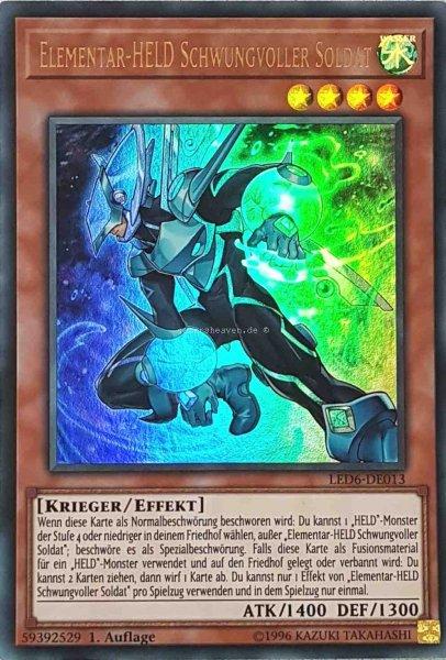 Elementar-HELD Schwungvoller Soldat LED6-DE013 ist in Ultra Rare aus Legendary Duelists: Magical Hero 1.Auflage