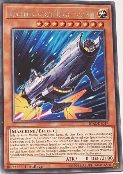 Lichtbogen-Lightcraft IGAS-DE017 ist in Rare Yu-Gi-Oh Karte aus Ignition Assault 1.Auflage