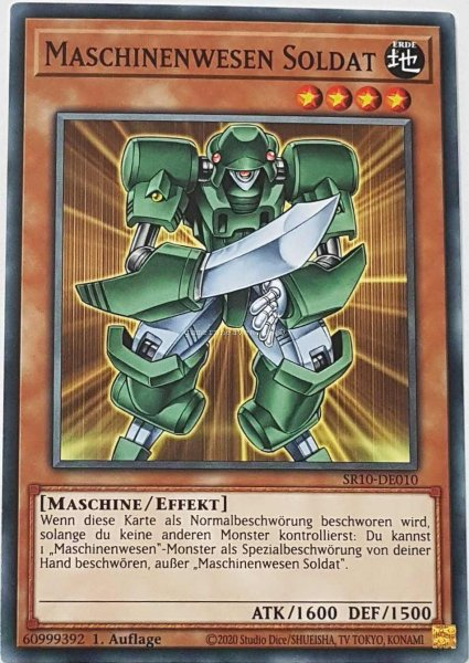 Maschinenwesen Soldat SR10-DE010 ist in Common Yu-Gi-Oh Karte aus Structure Deck: Mechanized Madness 1.Auflage