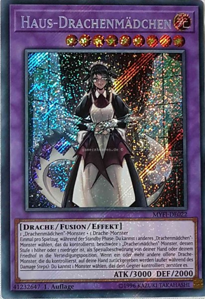 Haus-Drachenmädchen MYFI-DE022 ist in Secret Rare aus Mystic Fighters 1.Auflage