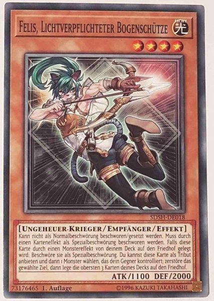 Felis, Lichtverpflichteter Bogenschütze SDSH-DE018 ist in Common Yu-Gi-Oh Karte aus Shaddoll Showdown 1.Auflage