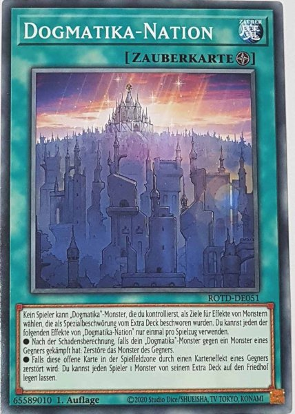 Dogmatika-Nation ROTD-DE051 ist in Common Yu-Gi-Oh Karte aus Rise of the Duelist 1.Auflage