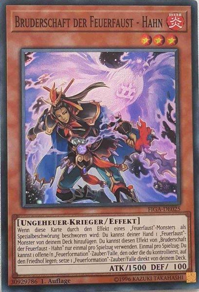 Bruderschaft der Feuerfaust - Hahn FIGA-DE025 ist in Super Rare Yu-Gi-Oh Karte aus Fists of the Gadgets 1.Auflage