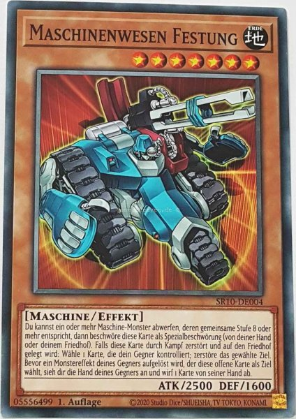 Maschinenwesen Festung SR10-DE004 ist in Common Yu-Gi-Oh Karte aus Structure Deck: Mechanized Madness 1.Auflage