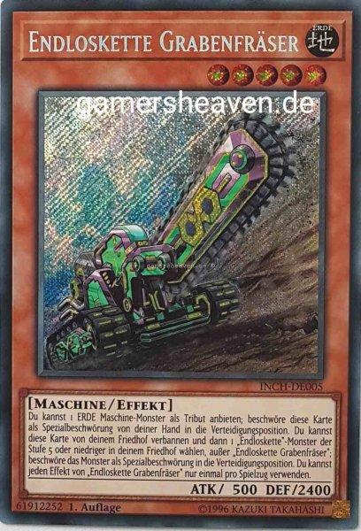 Endloskette Grabenfräser INCH-DE005 ist in Secret Rare Yu-Gi-Oh Karte aus The Infinity Chasers 1.Auflage