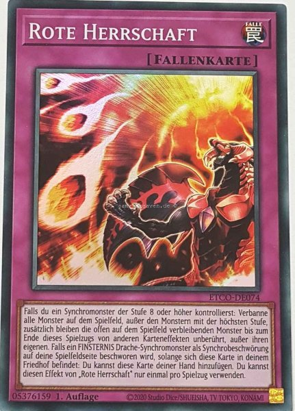 Rote Herrschaft ETCO-DE074 ist in Super Rare Yu-Gi-Oh Karte aus Eternity Code 1.Auflage