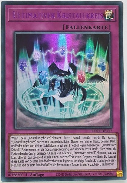 Ultimativer Kristallkreis (lila) LDS1-DE117 ist in Colorful Ultra Rare Yu-Gi-Oh Karte aus Legendary Duelists: Season 1 1.Auflage