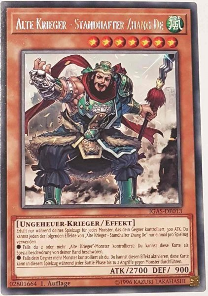 Alte Krieger - Standhafter Zhang De IGAS-DE013 ist in Rare Yu-Gi-Oh Karte aus Ignition Assault 1.Auflage